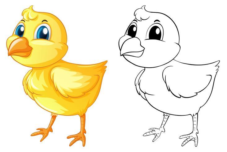 Doodle animal para pintinho vetor