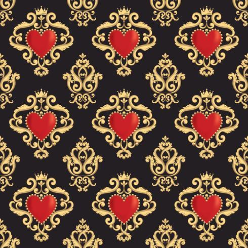 Teste padrão sem emenda do damasco com coração vermelho decorativo bonito s com a coroa no fundo preto. Ilustração vetorial vetor