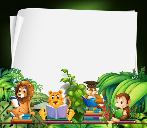 Design de fronteira com animais selvagens lendo livros vetor