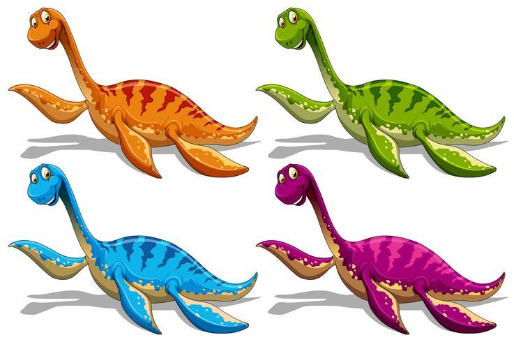 Saurópodes em quatro cores diferentes vetor