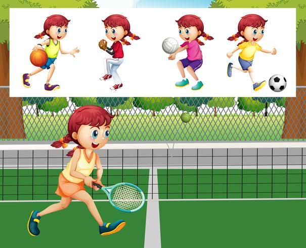 Menina, fazendo, diferente, esportes vetor