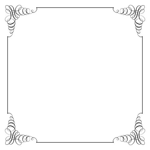 Moldura quadrada em estilo retro caligráfico. vetor