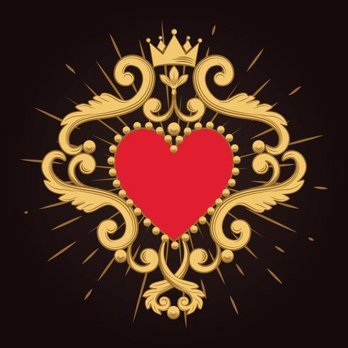 Coração vermelho decorativo bonito com a coroa no fundo preto. Ilustração vetorial vetor