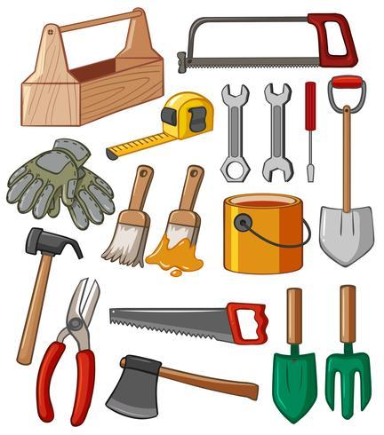 Caixa de ferramentas e muitas ferramentas vetor