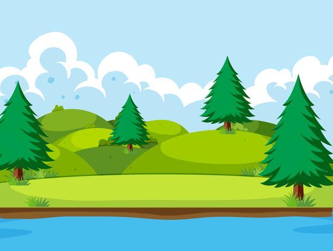 Uma paisagem natural plana vetor