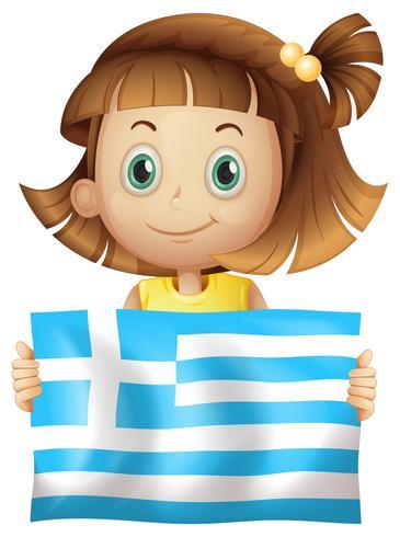 Linda garota segurando a bandeira da Grécia vetor