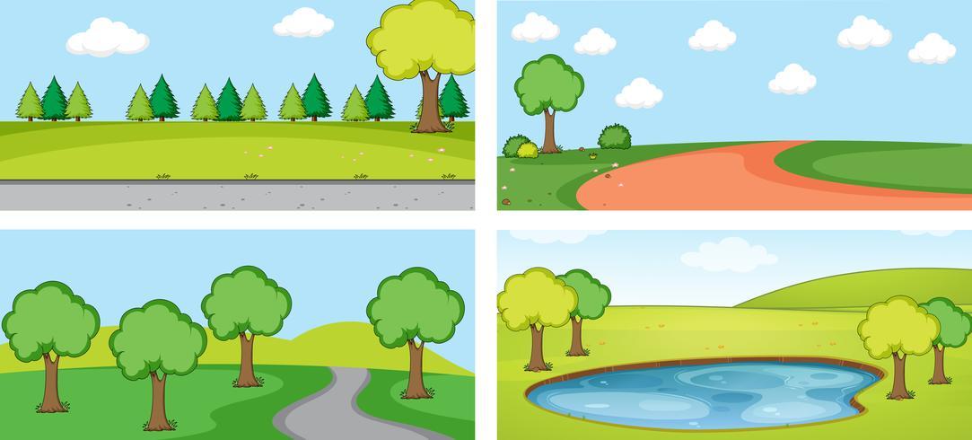 Conjunto de paisagem plana vetor