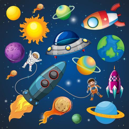 Astronauta e foguete no espaço vetor