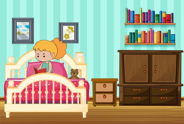 Menina, livro leitura, ligado, dela, cama vetor