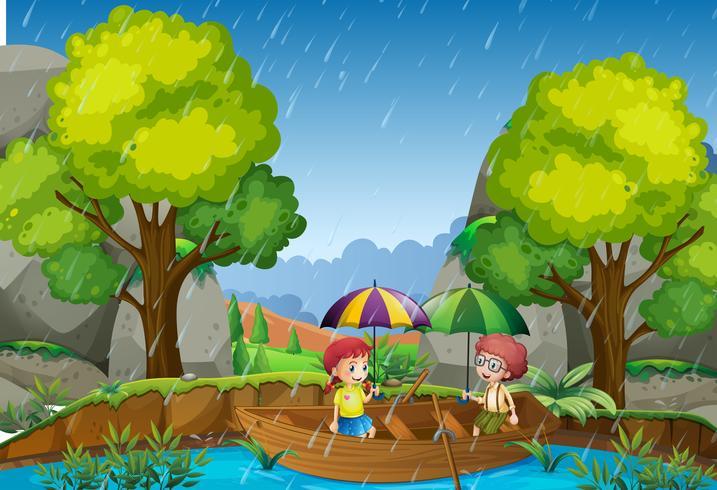 Dia chuvoso com menina e menino no parque vetor
