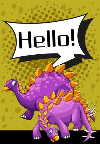 Design de cartaz com dois estegossauro vetor