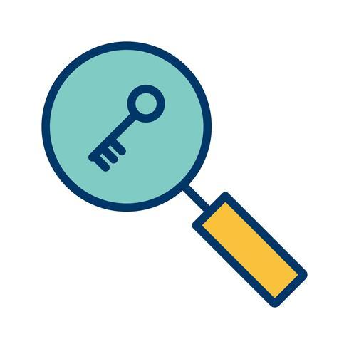 Ícone de pesquisa de palavra-chave de vetor