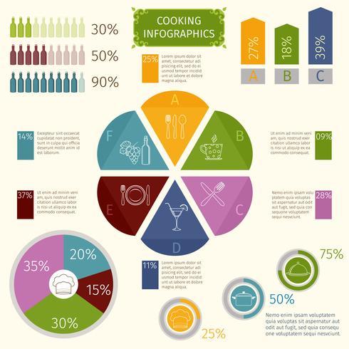 Cozinhar ícones infográfico vetor