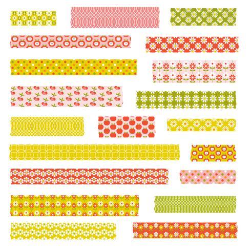 padrões retro washi tape clipart vetor