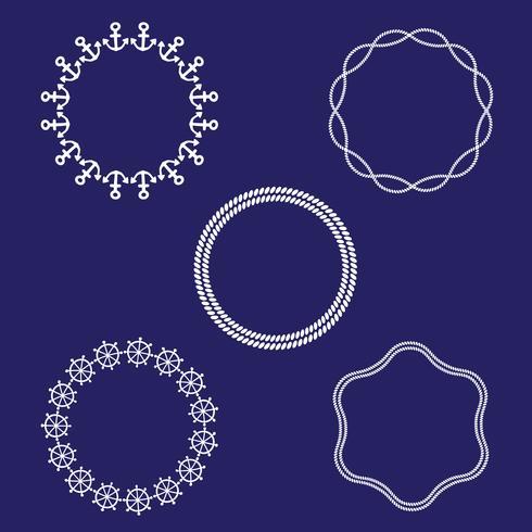 quadros náuticos circulares vetor