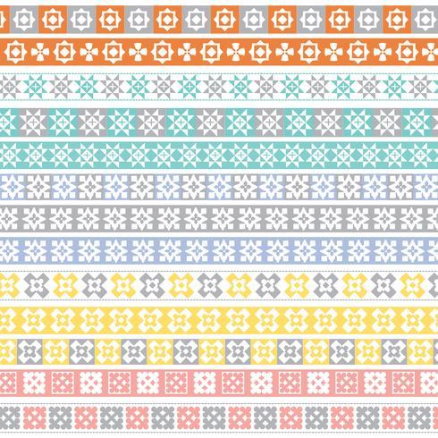 padrões de fronteira de colcha pastel vetor