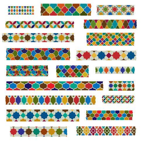 padrões de fita marroquina washi vetor