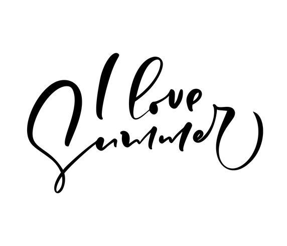 Eu amo a mão do verão tirada rotulando o texto do vetor da caligrafia. Logotipo ou etiqueta do projeto da ilustração das citações do divertimento. Cartaz de tipografia inspiradora, banner