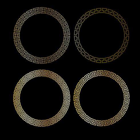 quadros de círculo metálico ouro fretwork vetor