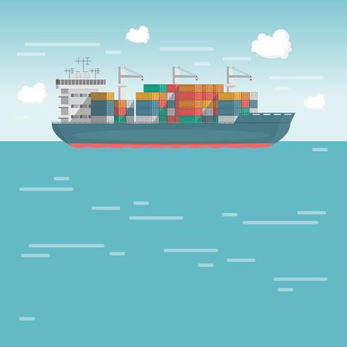 Transporte marítimo logístico. Frete marítimo. Navio de carga, transporte de contêiner em estilo simples vetor