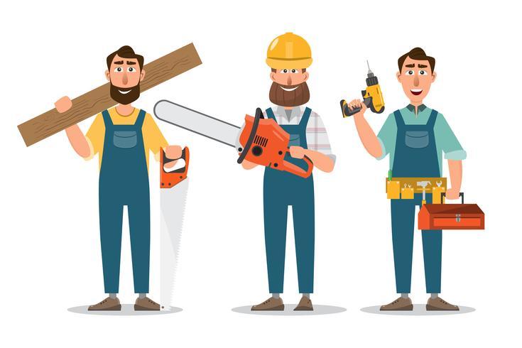 Carpinteiro, reparador com serra e ferramentas. profissionais de trabalho em equipe. vetor