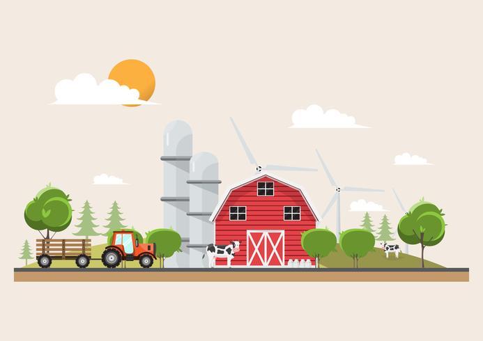 Agricultura e agricultura no design de cena de paisagem rural vetor