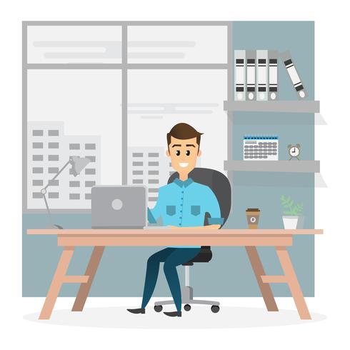 empresário sorridente é sentado e trabalhando em um computador laptop em seu escritório vetor