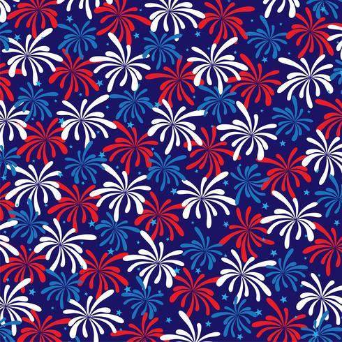 padrão de fogos de artifício azul branco vermelho com estrelas vetor