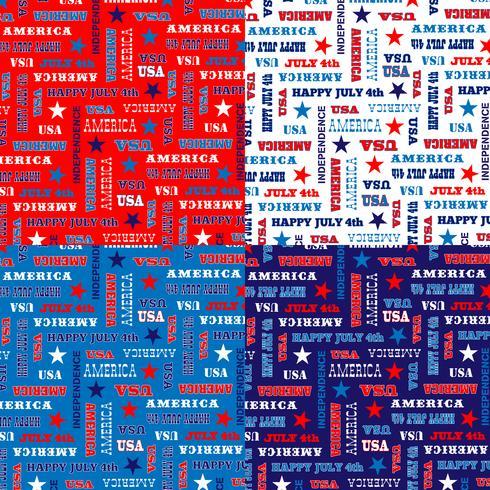 padrão de tipografia de 4 de julho azul branco vermelho vetor