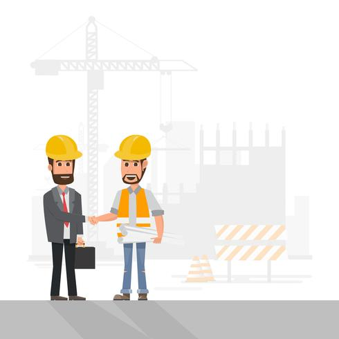 arquiteto, capataz, engenharia operário, gerenciar um projeto no canteiro de obras vetor