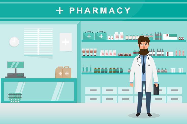 farmácia com médico no balcão. personagem de desenho animado de farmácia vetor