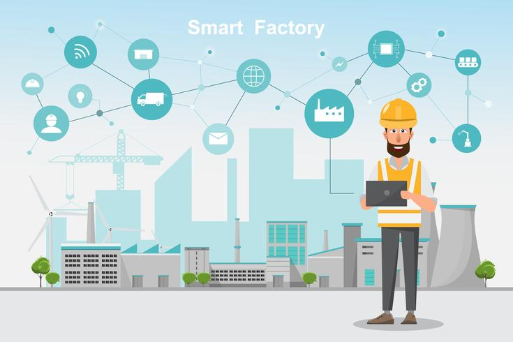 Fábrica moderna 4.0, fabricação automatizada inteligente de smartphone e tablet vetor
