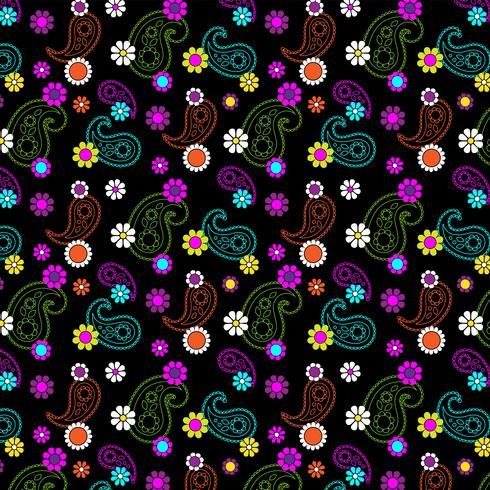 padrão de paisley floral mod vetor
