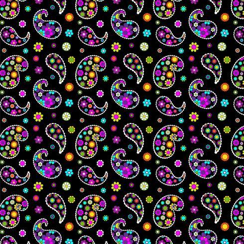 padrão paisley floral mod em fundo preto vetor