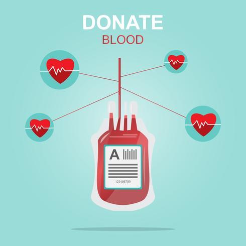 Projeto de doação de sangue, salvar a vida e ser um herói. vetor