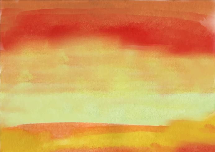 Mão colorida pintada em aquarela de fundo. Pinceladas de aquarela laranja. Textura e fundo abstratos da aguarela para o projeto. Fundo aquarela sobre papel texturizado. vetor