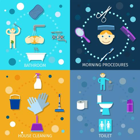 Ícones de higiene planas vetor
