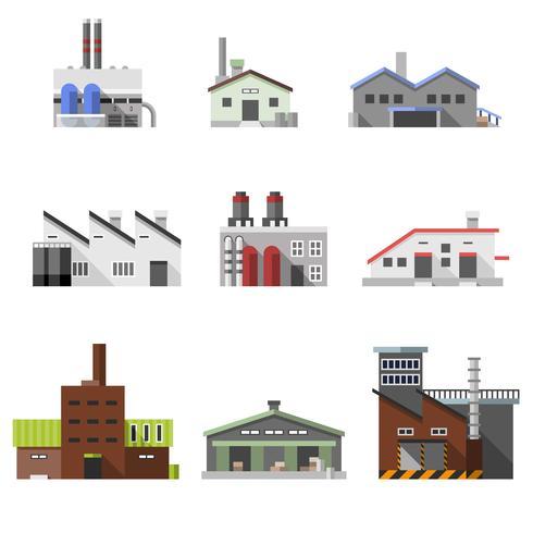 Edifícios industriais planos vetor