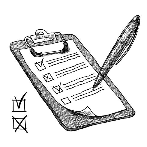 Área de transferência com lista de verificação vetor