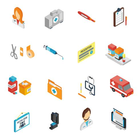Conjunto de ícones do médico isométrico vetor