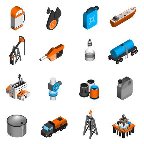 Ícones isométricos de indústria de petróleo vetor