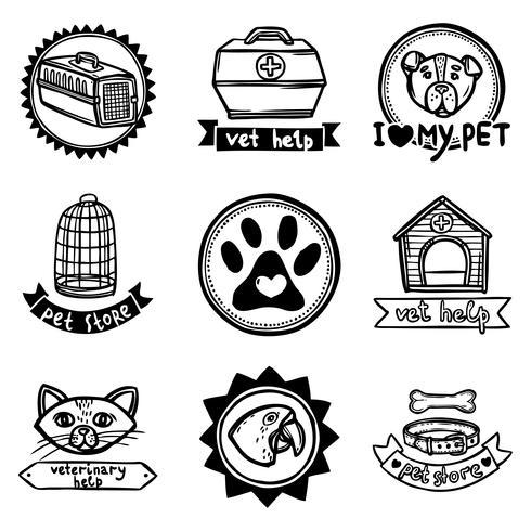 Conjunto de emblemas veterinários vetor