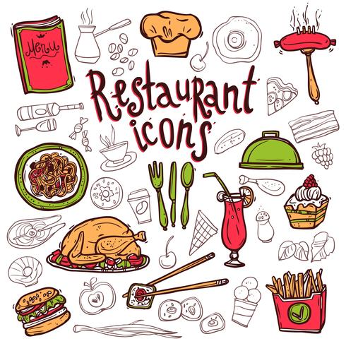 Ícones de restaurante doodle desenho de símbolos vetor