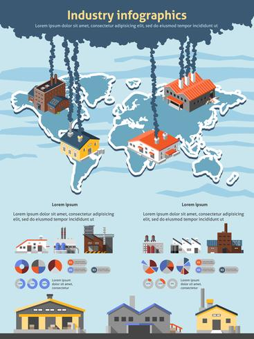 Conjunto de infográficos da indústria vetor
