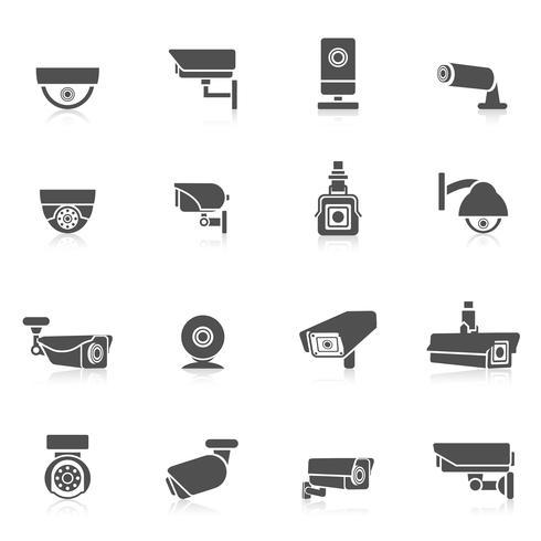 Ícones de câmera de segurança vetor