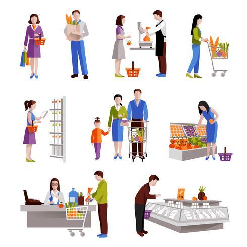 Pessoas no supermercado vetor