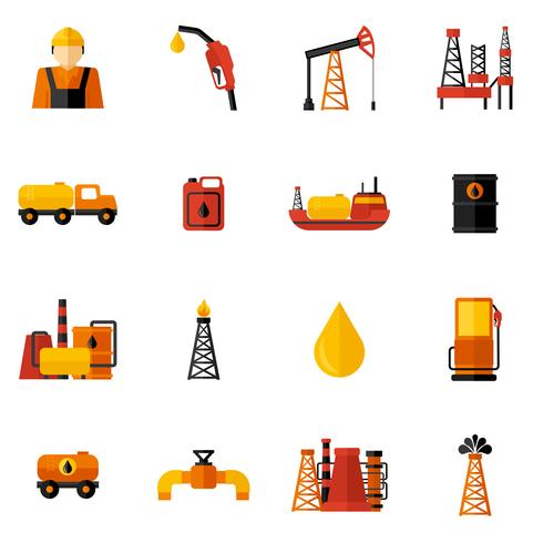 Ícones da indústria de petróleo plana vetor