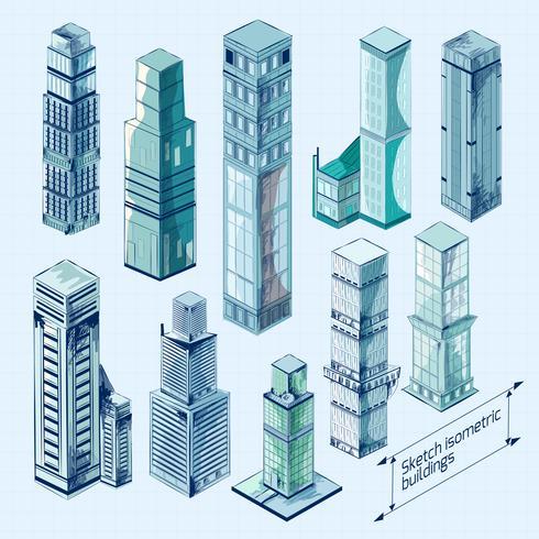 Esboço isométrico edifícios coloridos vetor