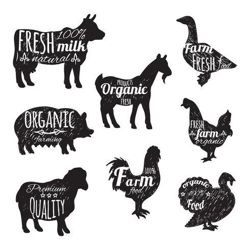 Conjunto de animais de fazenda vetor