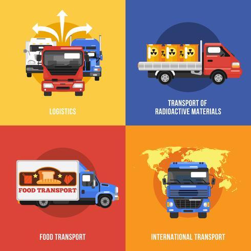 Caminhão, ícones, apartamento vetor
